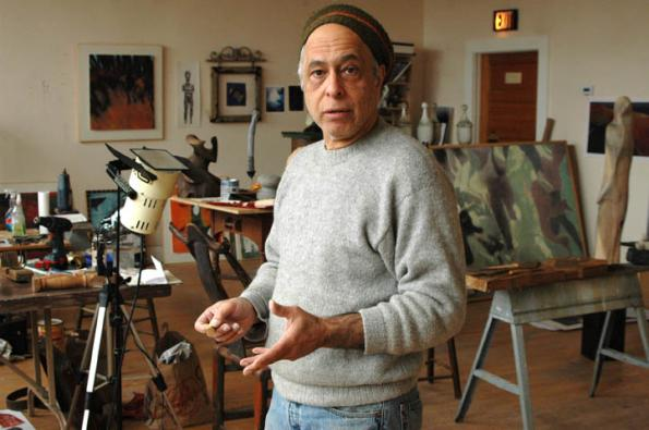 ELISE HUGUS- The artist in his studio at Old Schoolhouse Studios in West Barnstable, Mass.